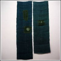 DIY Boro Repair Old Mosquito Netting Hemp Patched Kaya BlueishGreen Color 2 Panels