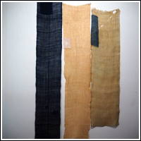DIY Boro Repair Old Mosquito Netting Variegated Indigo Hemp Patched Kaya 3 Panels