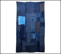 Early Indigo Cotton Boro Futon Cover Katazome Patchwork