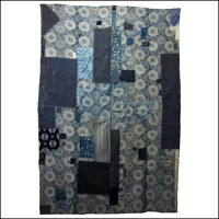 Early Katazome Indigo Boro Cotton Futon Cover