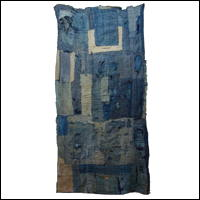 Excellent Early Indigo Cotton Boro Shikibuton Futon Underquilt Padding Sashiko Stitching