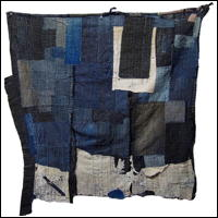 Early Indigo Cotton Boro Textile Fragment Sashiko Stitching