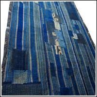Early Stripe Indigo Cotton Boro Futon Cover Sashiko Stitching