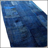 Early Thin Stripe Indigo Hemp Boro Futon Cover Sashiko Stitching