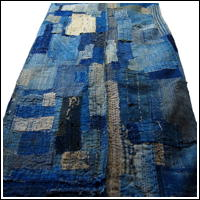 Very Early Indigo Cotton Boro Shikibuton Futon Underquilt Padding  Sashiko Stitching