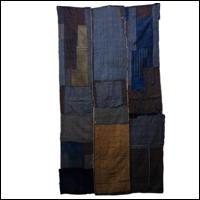 Early Indigo Cotton Boro Textile Sashiko Stitching