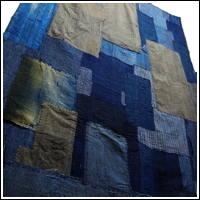 Early Indigo Cotton Boro Shikibuton Futon Underquilt Sashiko Stitching