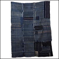 Early Zanshi Check Indigo Boro Cotton Futon Cover Fragment