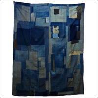 Early Indigo Cotton Extensive Sashiko Boro Futon Textile
