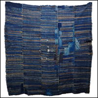 Extraordinary Early Indigo Cotton Boro Sakiori Jutan Carpet