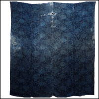 Early Katazome Indigo Hemp Boro Furoshiki Cover Textile