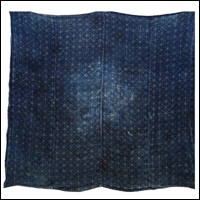 Early Katazome Indigo Hemp Patched Furoshiki Textile Faux Sashiko Pattern