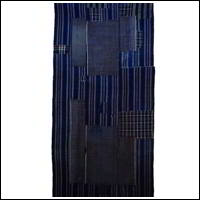 Early Indigo Cotton Boro Textile Stripe Design