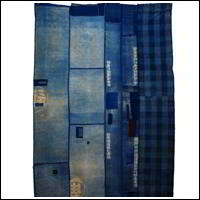 Early Indigo Cotton Boro Textile Tsutsugaki Images