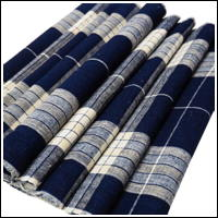 Old Check Indigo Cotton Textile