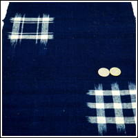 Lovely Old Kasuri Indigo Cotton Hand Loomed Textile Panel