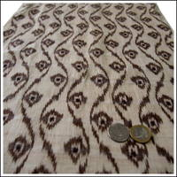Finely Woven Dark Brown Kasuri Beige Hemp Textile Panel