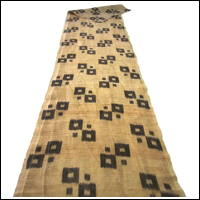 Long Finely Woven Dark Brown Kasuri Beige Hemp Textile Panel