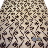 Finely Woven Natural Beige And Dark Brown Kasuri Hemp Textile