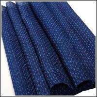 Finely Woven Indigo Kasuri Hemp Textile