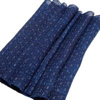 Finely Woven Dark Indigo Kasuri Hemp Textile Panel