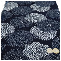 Katazome Indigo Cotton Textile Double Chrysanthemum Design