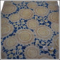 Katazome Indigo Cotton Textile Stylized Chrysanthemum Design