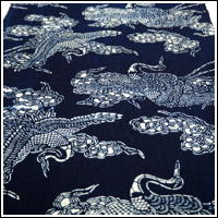 Katazome Indigo Cotton Textile Stylized Crane Design