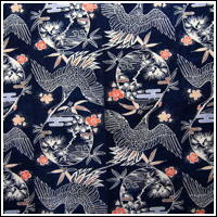 Wonderful Katazome ca1900 Indigo Cotton Futon Cover Crane Motif