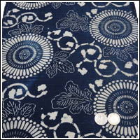 Katazome Indigo Cotton Textile Stylized Chrysanthemum Design