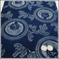 Katazome Indigo Cotton Textile Crane and Pine Design