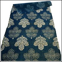 A Rare FindFatsia Shrub Leaf Design Katazome Indigo Cotton Textile