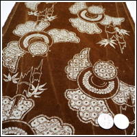 Katazome Brown Cotton Textile Stylized Japanese Sparrow suzume Design