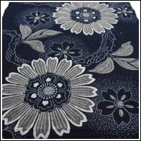 Katazome Indigo Cotton Textile Stylized Chrysanthemum  Cherry Blossoms Motif