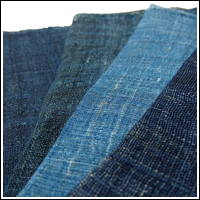 4 Panel Set Hemp Indigo Kaya Faded Indigo Variations Mosquito Netting