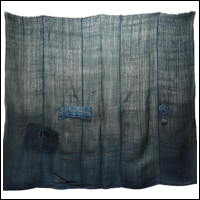Kaya Indigo Green Boro Hemp Cotton Mixed Mosquito Netting