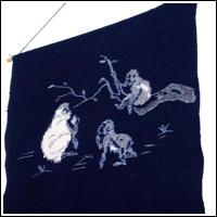 EGasuri Picture Kasuri Wall Hanging Monkey Family