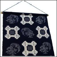 EGasuri Picture Kasuri Wall Hanging Small Crane Motif