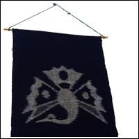 EGasuri Picture Kasuri Wall Hanging Crane Tsuru Motif