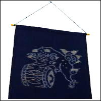 EGasuri Picture Kasuri Wall Hanging Shishi Lion  Taiko Drum