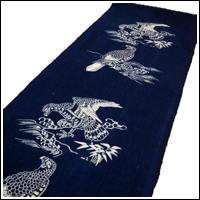 Katazome Cotton Textile Picture Wall Hanging Japanese Hawk Motif