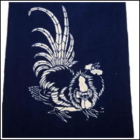 Katazome Cotton Textile Picture Wall Hanging Japanese Rooster Motif