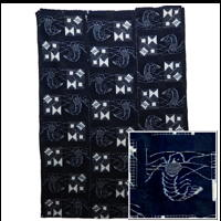 Early Indigo Picture Kasuri Cotton Futon Cover Shrimp Ebi