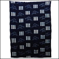 Early Indigo Picture Kasuri Cotton Futon Cover Pine Image