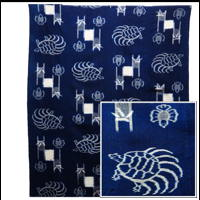Early Indigo Picture Kasuri Cotton Futon Cover Turtle and Sparrow