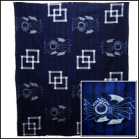Early Indigo Picture Kasuri Cotton Futon Cover Buddhist Image