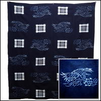 Early Indigo Picture Kasuri Cotton Futon Cover Turtle and Crane