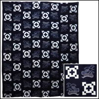 Early Indigo Picture Kasuri Cotton Futon Cover Ikebana Theme