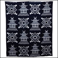 Extraordinary Early Indigo Picture Kasuri Cotton Futon Cover Castle Design