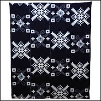 Early Indigo Picture Kasuri Cotton Futon Cover Rare Chidori Bird Design